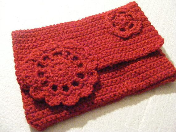 Crochet Clutch Purse : Red Crocheted Clutch Purse