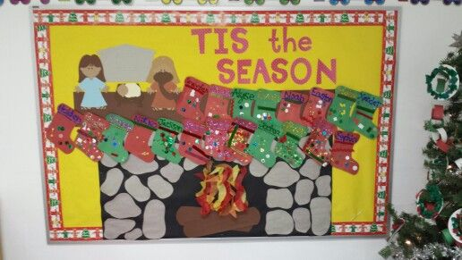 Christmas stocking bulletin board playschool ideas
