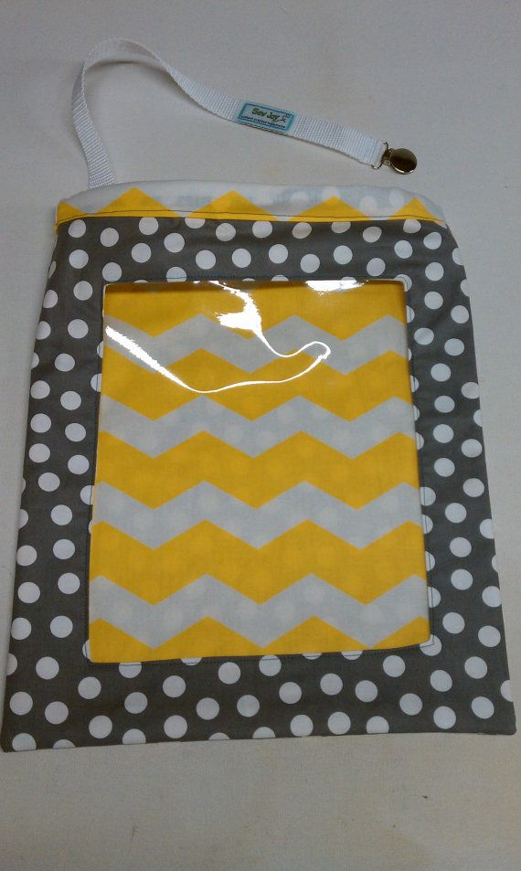 Yellow Chevron and Gray Polka Dots - EZ Find Reversible Car Storage    Yellow And Gray Polka Dots