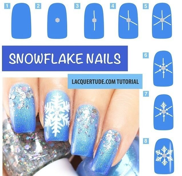 Рисунки снежинки на ногтях
