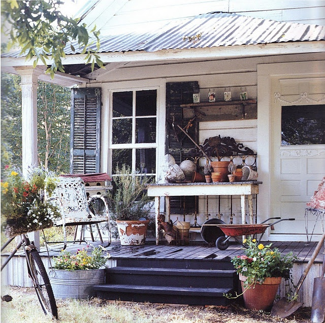 shabby chic porch with potting bench porches pinterest