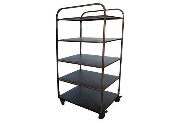 5 shelf industrial rolling cart. Black Bedroom Furniture Sets. Home Design Ideas