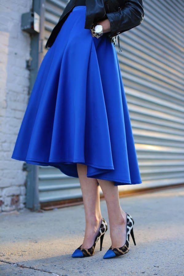 cobalt blue midi skirt fashionista