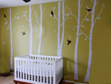 Birch tree nursery mural wee ones pinterest for Diy tree mural nursery
