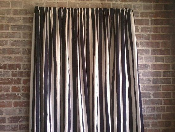 ... Blue and White Canopy Stripe Curtain Panels One Set: Two Curtain