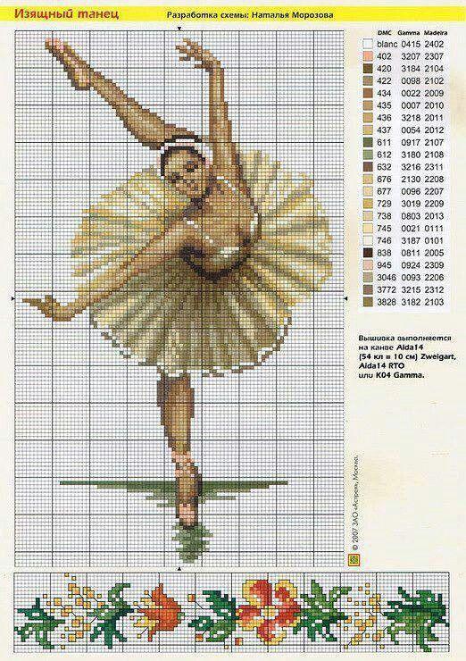 Схемы балерин вышивок крестом 158