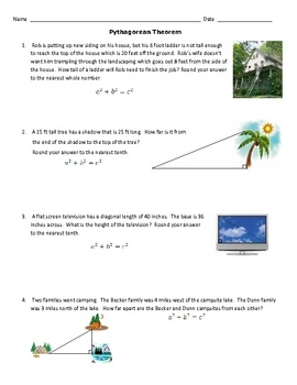 Pythagorean Theorem Word Problems Worksheet And Answers ...
