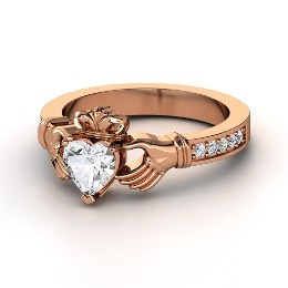 Claddagh Ring, Heart White Sapphire Rose Gold Ring with Diamond from Gemvara