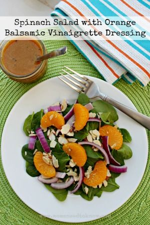 Oranges, Caramelized Red Onions And Spinach With Balsamic Vinaigrette ...