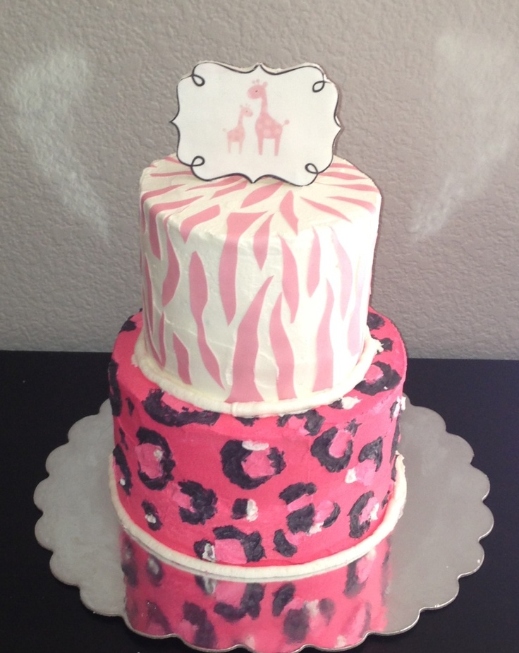 pink safari baby shower cake baby cakes pinterest