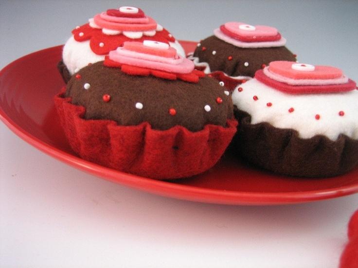 Cherry Chocolate Cupcakes - 2 pieces - Waldorf Inspired Felt Play Foo ...