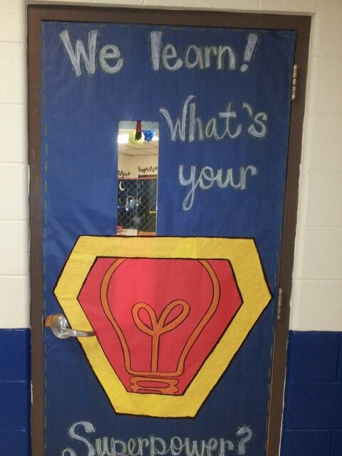 Superhero themed door