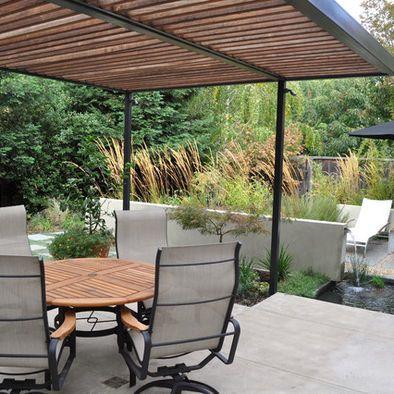 Modern pergola garden patios fire features pinterest for Steel and wood pergola