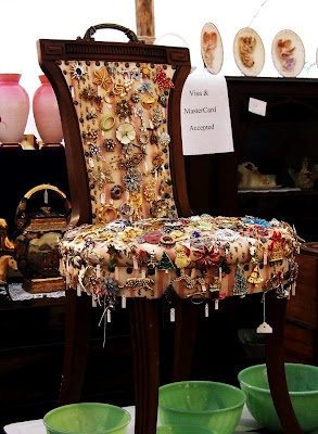 vintage chair for displaying costume jewlery