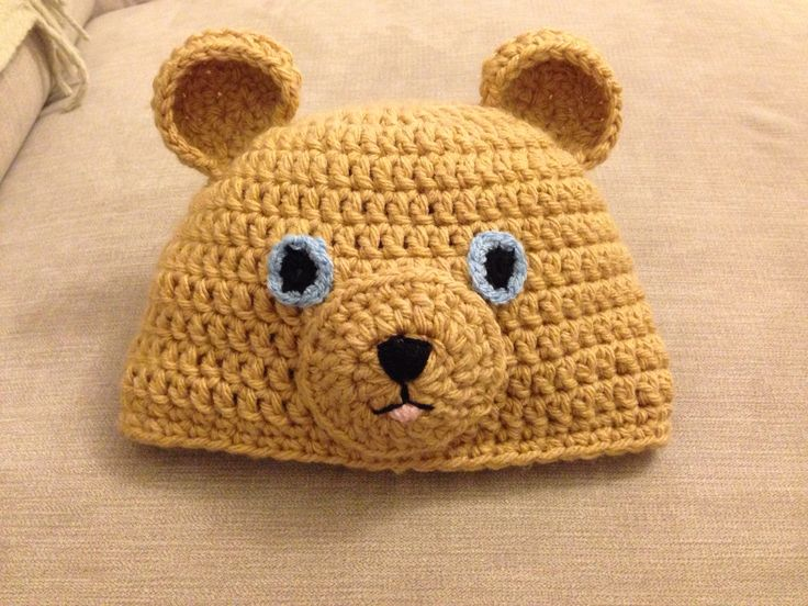 Teddy bear crochet hat crochet Pinterest
