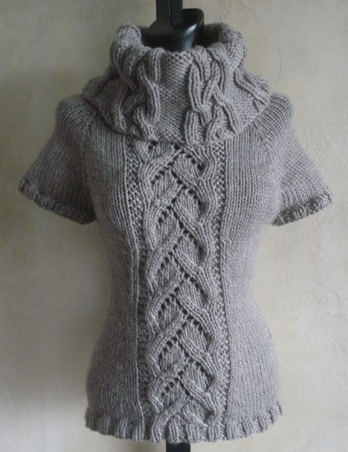 #90 Chic Cables and Lace Cowl Neck Sweater PDF Knitting Pattern