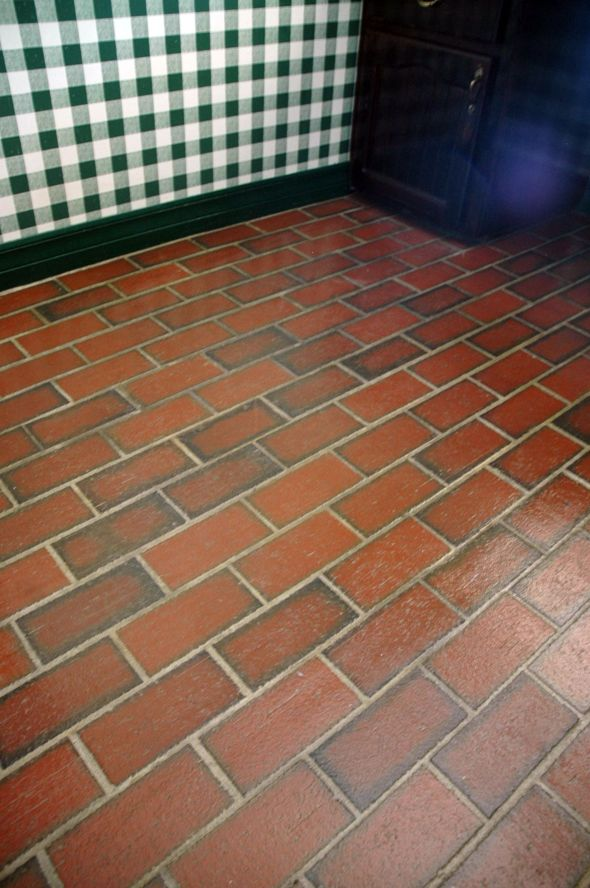 Pin by brenda acker on before and after pinterest for Painting vinyl floor tile