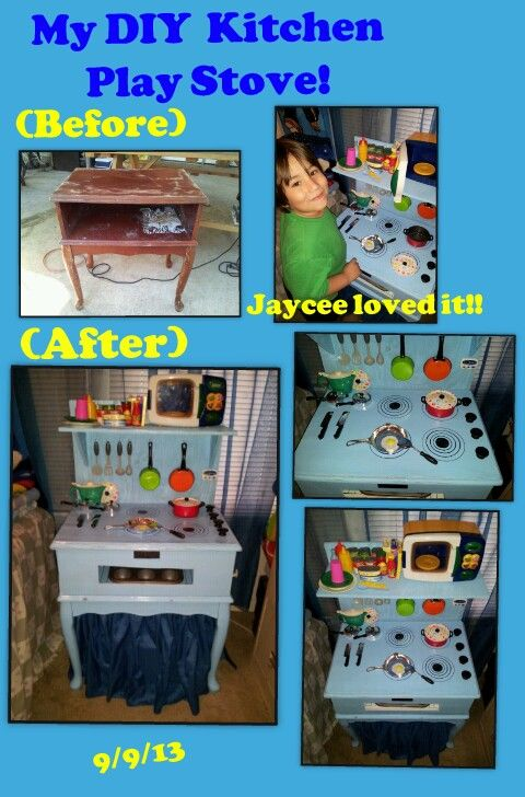 My DIY Kitchen Play Stove I Made For My Son Bought This Old Side Table At A