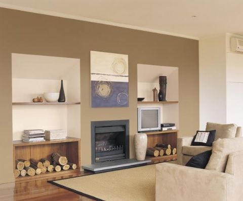 Neutral brown feature wall paintright colac brown for Neutral feature wall colours