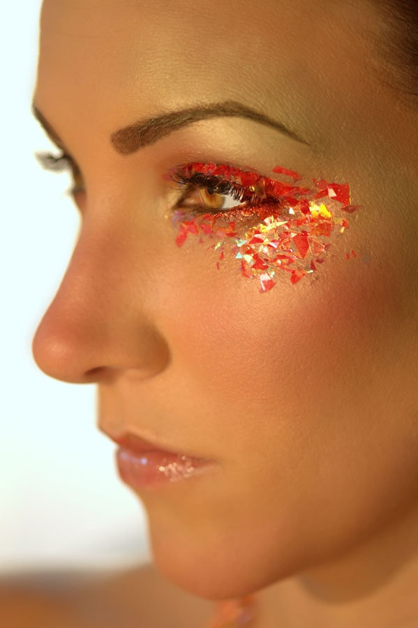 Makeup Ideas fire makeup : ... , gold, and red flakes eye makeup. Fun for a fire themed artistic