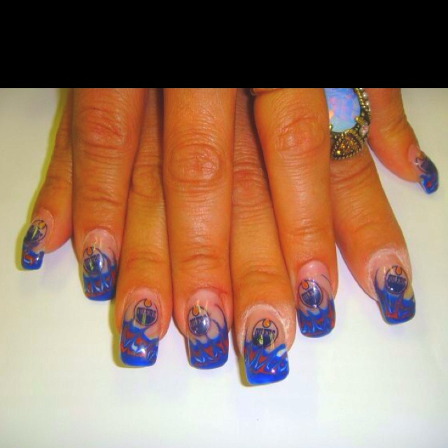 Edmonton oilers gel nails, oh how I miss doing nails!