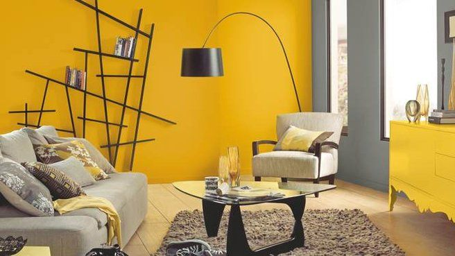 Deco murs jaune id es salon pinterest - Decoration de mur de salon ...