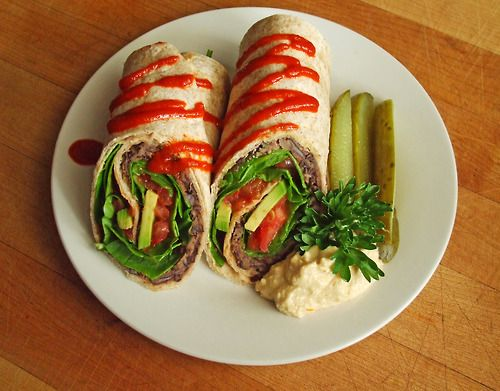 wheat wrap with seasoned refried black beans, spinach, tomato, avocado ...
