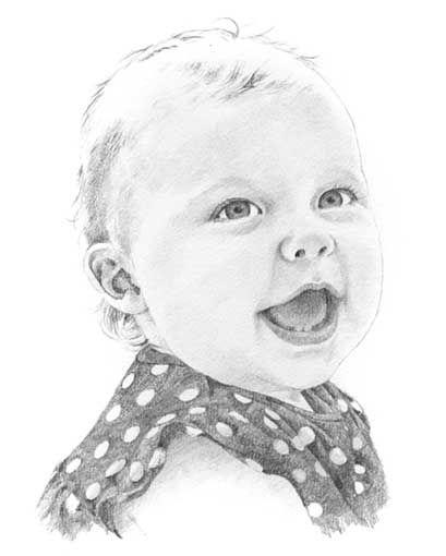 Baby girl pencil portr...