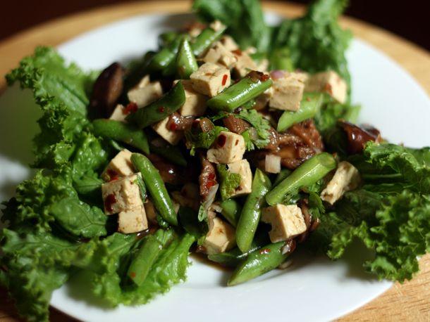 Tofu, green bean and shiitake salad... @Ahuvah Berger would be proud.