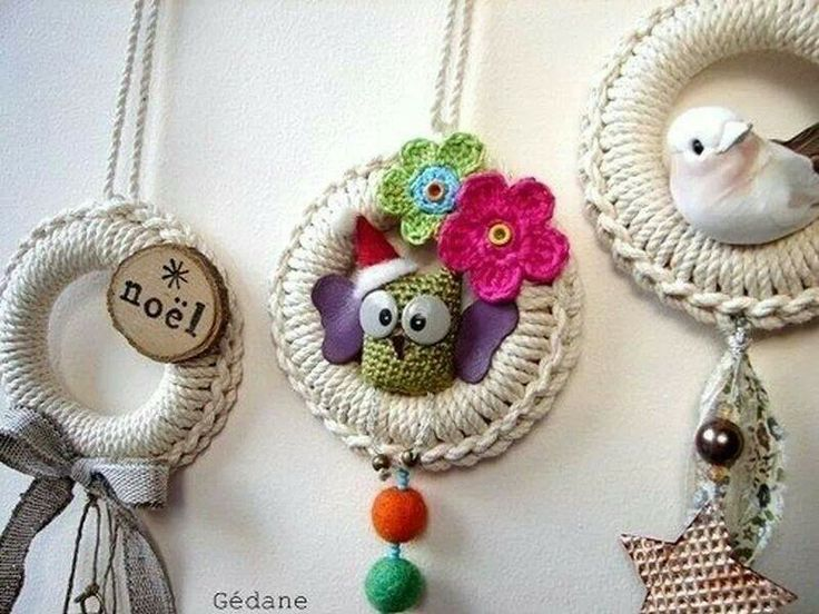 Christmas Decorations Using Curtain Rings : Crochet decorations