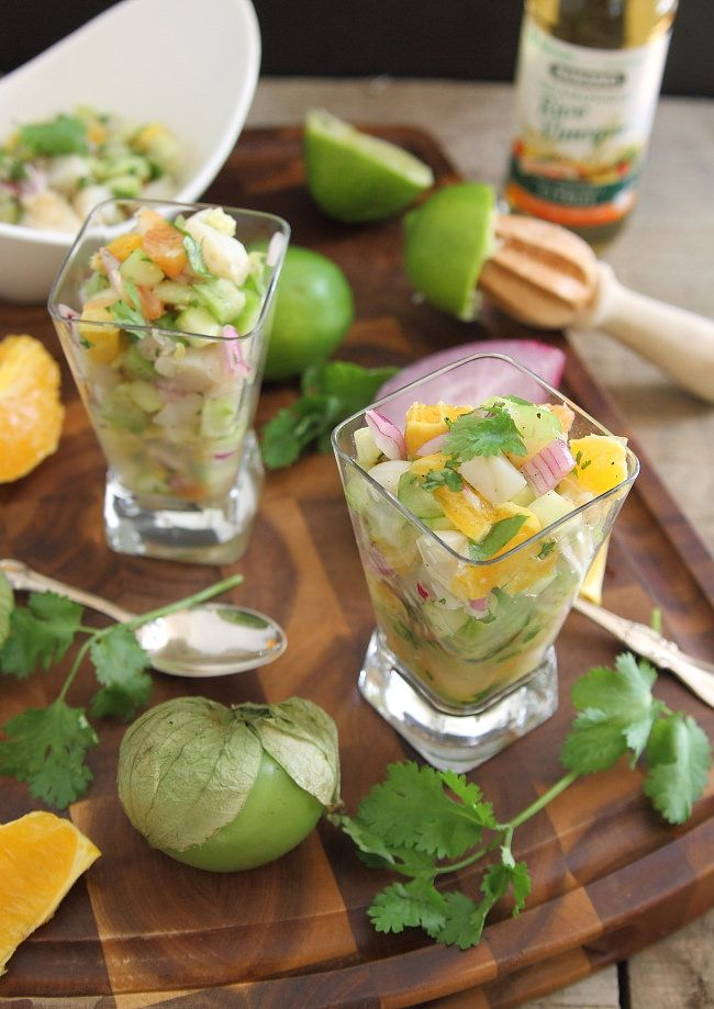 Grilled scallop citrus ceviche. Could substitute salmon.
