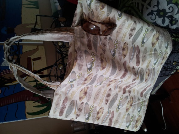Vintage Fabric Beach Bag Canvass Tote Surf by trendytrinketsbymely, $35.00