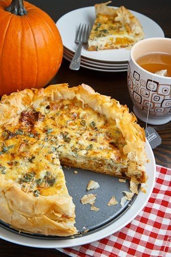 Roasted Pumpkin Quiche with Caramelized Onions, Gorgonzola and Sage.