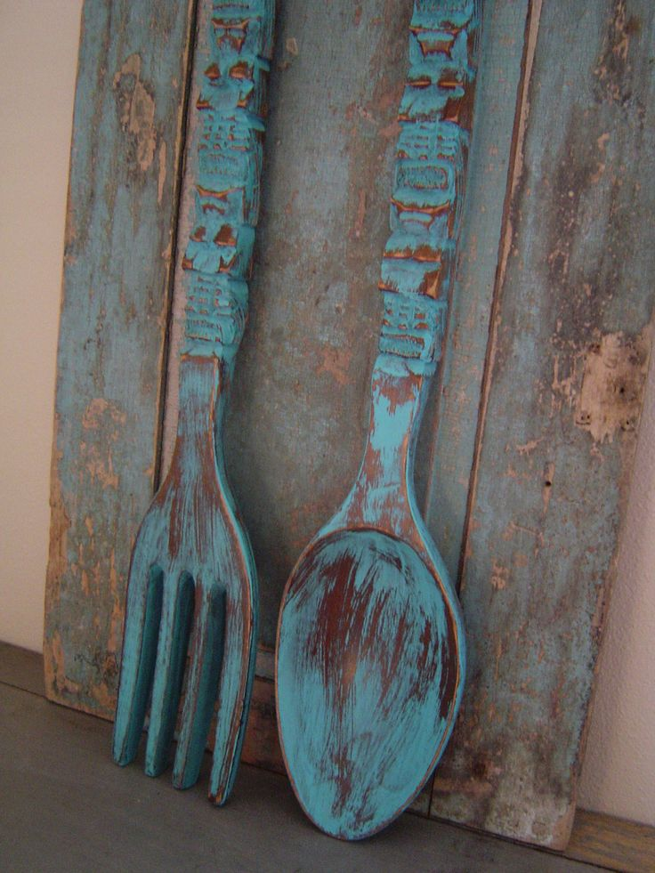Big Wooden Wall Decor : Turquoise spoon fork wooden wall decor distressed big