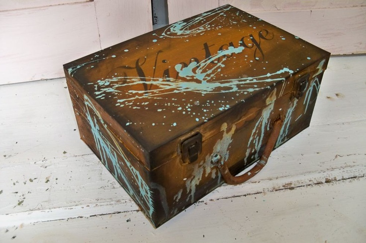 rusty metal box with lid decorative storage urban farm. Black Bedroom Furniture Sets. Home Design Ideas