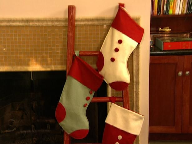 No mantel? No problem. Build this simple ladder to hold your stockings near the fireplace in style.  http://www.hgtv.com/handmade/stocking-ladder-builds-up-christmas/index.html?soc=pinterest