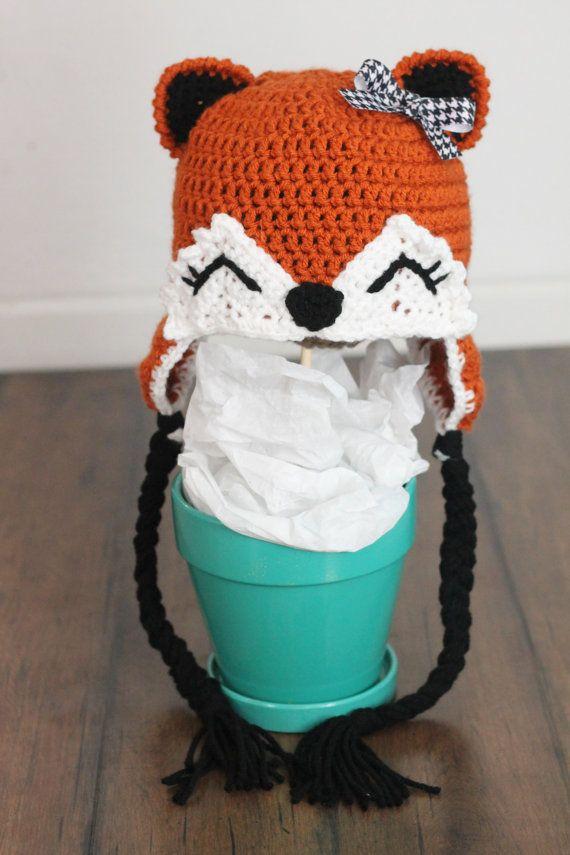 Crochet Fox Hat : Crochet fox hat - forest fox - boy or girl - baby fox hat - newborn ...