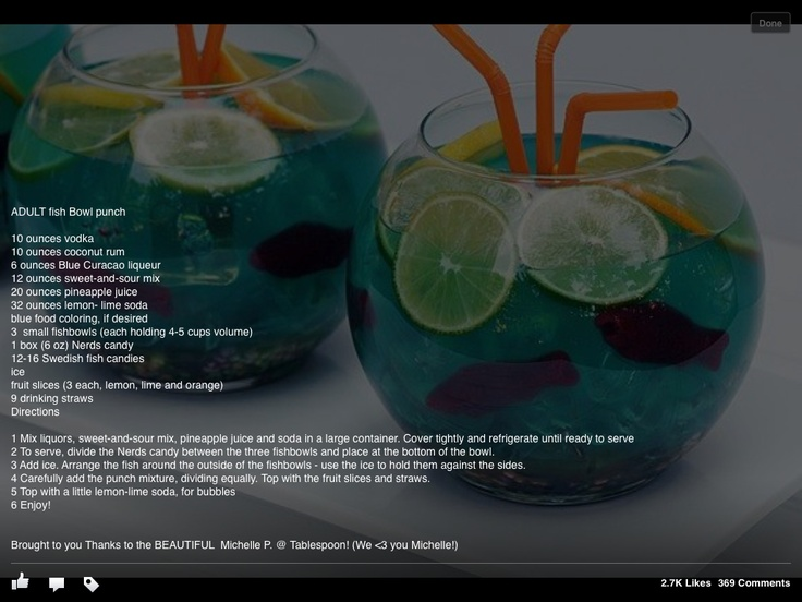 Fish bowl drink recipe summer fun recipes pinterest for Restaurants with fish bowl drinks near me