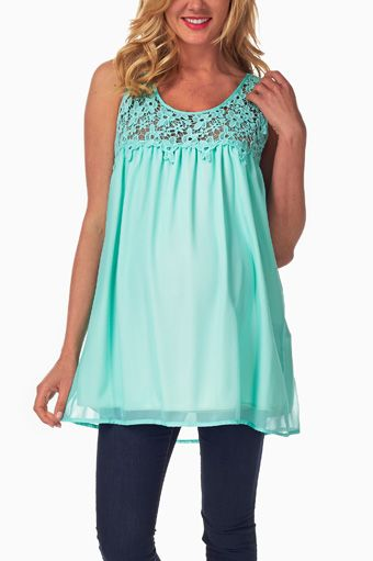 mint green crochet top maternity tank