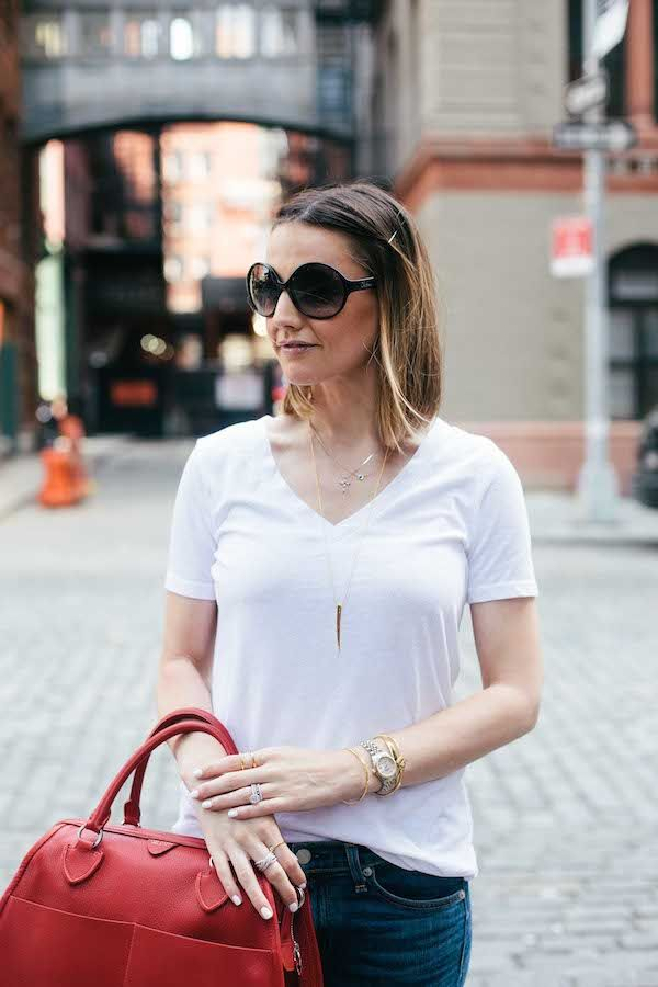 { white t-shirt + layered necklaces }