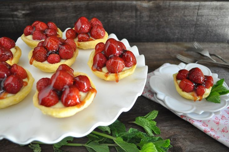 Mini Strawberry Tarts with Orange Crust filled with pastry cream tart ...
