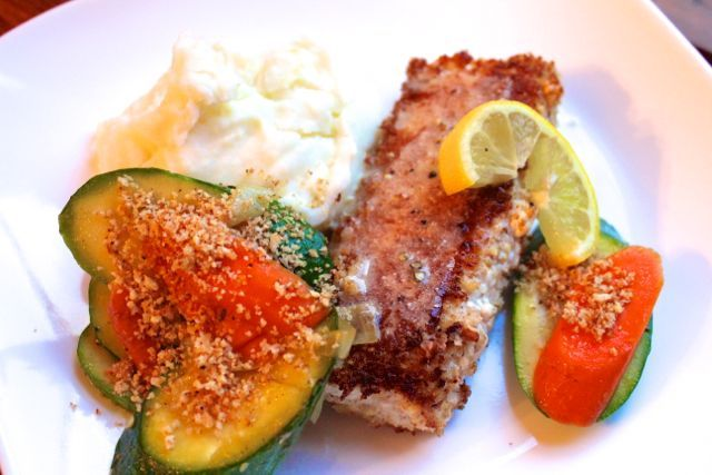 parmesan encrusted fish and beurre blanc sauce, sauteed zucchini ...