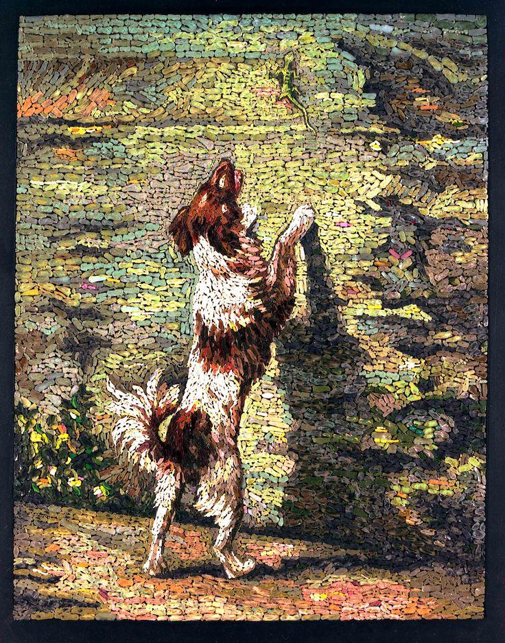 Micro mozaik egy spániel üldözi a gyík ELADVA Micro mozaik / micromosaic egy spániel üldöz egy gyík.  ELADVA