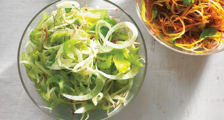 Celery, Apple, and Fennel Slaw by bonappetit #Salad #Celery #Apple #Fennel #Healthy