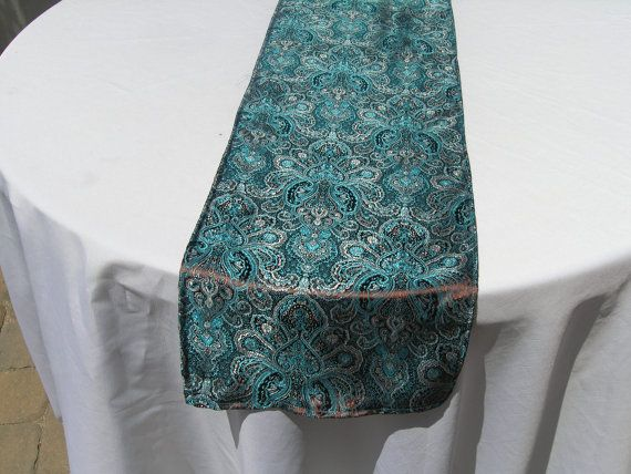 etiquette and to Runner,  Table READY table SHIP, Teal  Brocade Brown  Print Damask runner