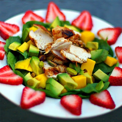 Mango-Avocado Chicken Salad with Maple Citrus Vinaigrette.