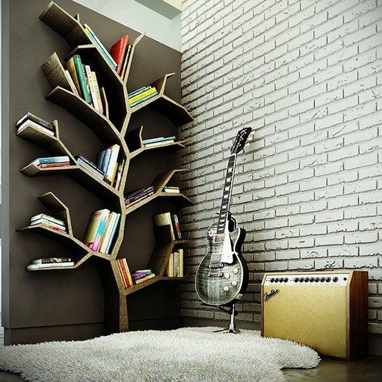 Books and a Les Paul