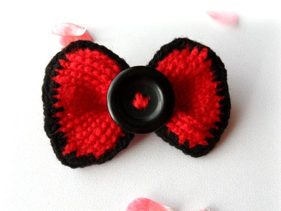 Crochet Hair Pins : Crochet Red Bow Brooch Tie Pin Hair Accessory by CraftsbySigita on ...