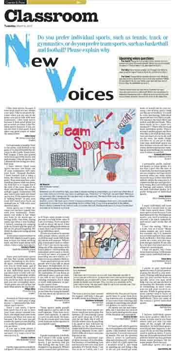 Students weigh in on whether they prefer individual or team sports in the Classroom page March 6, 2012 of the Evansville Courier & Press