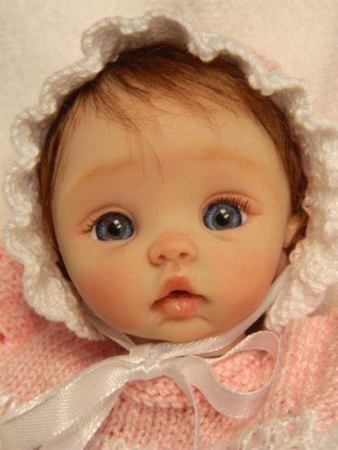 Ooak hand sculpted custom mini polymer clay baby doll miniature